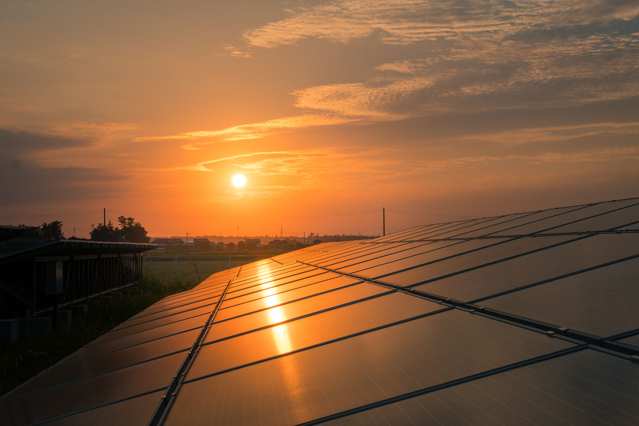 Solar panels by the sunset